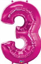 Number 3 Pink Super Shape Number Foil Balloon